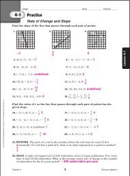 Algebra I Chapter 8 Practice Workbook Answer Key