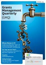 Grants Management Quarterly (GMQ) - Our Community