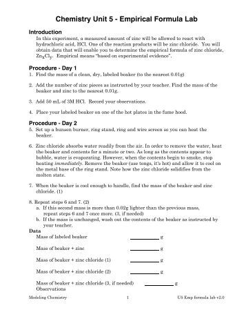 the determination of a chemical formula chemistry lab Answer to experiment 2 determination of a chemical formula additional  review material relevant sections in the text (chemistry for.