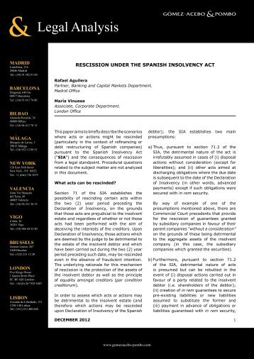 Rescission Under the Spanish Insolvency Act – December 2012