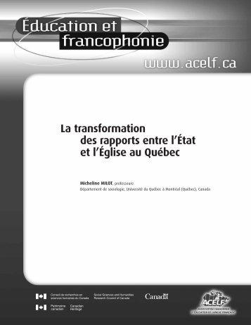 La transformation des rapports entre l'État et l'Église au Québec - acelf
