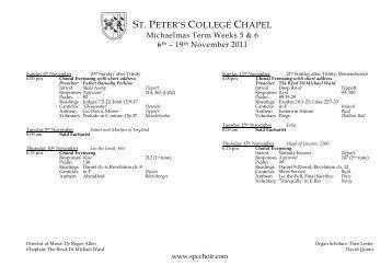 WEEK 1 - St Peter's College