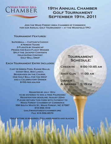 19th Annual Chamber Golf Tournament September 19th, 2011