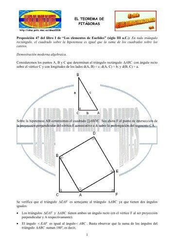 """EL TEOREMA DE PITÁGORAS 1 Proposición 47 del libro I de """"Los ..."""