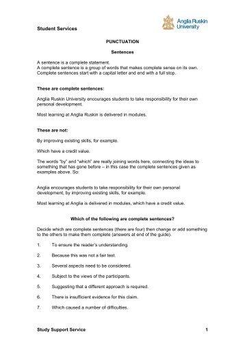 Punctuation - My.Anglia Homepage - Anglia Ruskin University