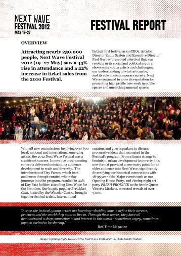 FESTIVAL REPORT - Next Wave