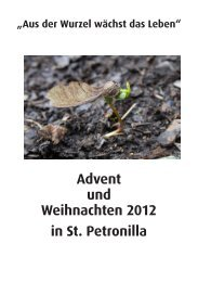 Advent und Weihnachten 2012 in St. Petronilla