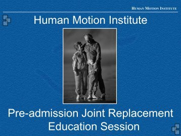 Human Motion Institute Pre-admission Joint ... - Doctors Hospital