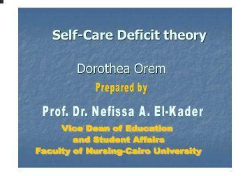 dorothea orem self care deficit theory Descriptors: nursing theory hypertension diabetes mellitus nursing diagnosis  objetivou-se identificar  rothea e orem's self-care deficit theory of nursing.