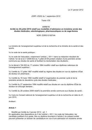 Arrêté du 26 juillet 2010 modifié par l'arrêté du 3 janvier 2012 relatif ...