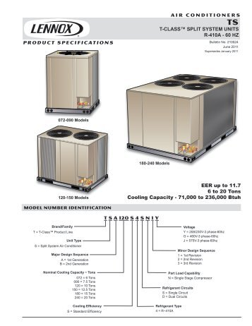 AIR CONDITIONERS T-CLASS™ SPLIT SYSTEM UNITS R-410A ...