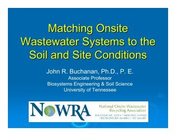 Matching Onsite Wastewater Systems to the Soil and Site Conditions