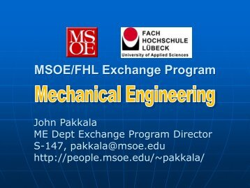 MSOE/FHL Exchange Program - Milwaukee School of Engineering