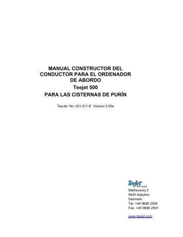 MANUAL CONSTRUCTOR DEL CONDUCTOR PARA EL ... - TeeJet