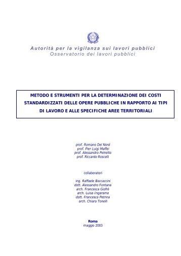 Metodi e strumenti per la determinazione dei costi standardizzati ...