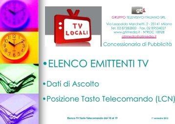 •ELENCO EMITTENTI TV - GTI Srl Gruppo Televisivo Italiano