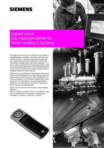 Gigaset active Das Industriemobilteil für Hicom cordless E-Systeme