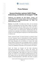 Press Release Siemens Brasilien optimiert SAP ... - Galileo Group AG