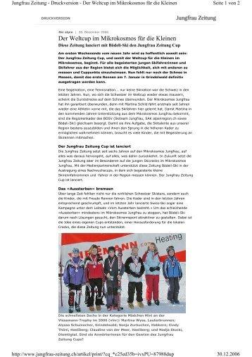 Bericht Jungfrau Zeitung Cup - Bödeli Skiteam