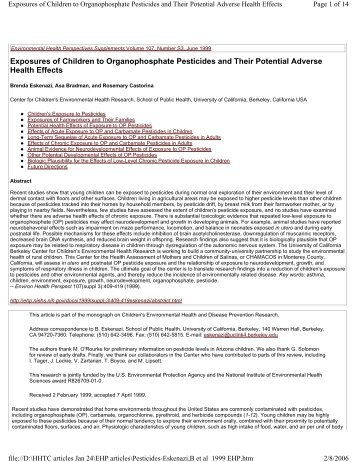 Exposures of Children to Organophosphate Pesticides and Their ...