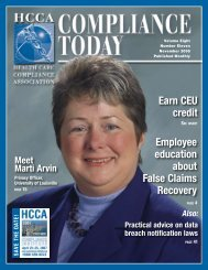 Internal Audit and Compliance - Health Care Compliance Association