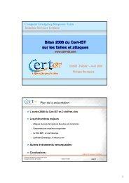 Bilan 2008 du Cert-IST sur les failles et attaques - OSSIR