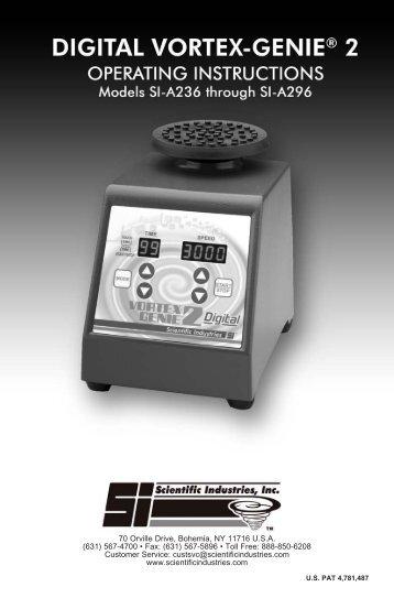 Digital Vortex-Genie 2 Manual - Scientific Industries, Inc.