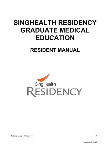 singhealth residency graduate medical education resident manual