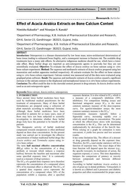 Effect Of Acacia Arabica Extracts On Bone Calcium Content