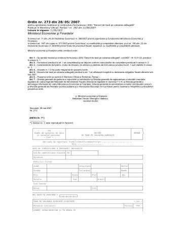Ordin nr. 273 din 28/05/2007 Ministerul Economiei şi Finanţelor