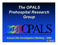 The OPALS Prehospital Research Group - The Ottawa Hospital ...