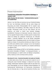 Transocean präsentiert Kreuzfahrt-Kataloge in neuem Look