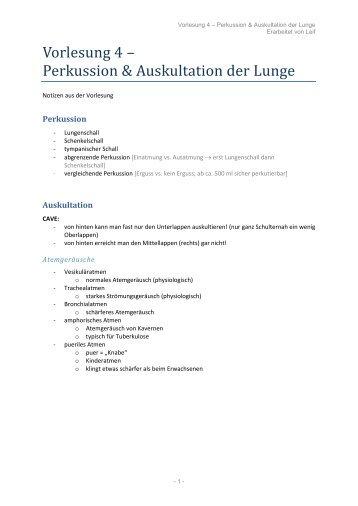 Vorlesung 4 – Perkussion & Auskultation der Lunge - wilmnet.de