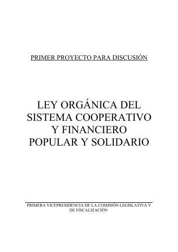 ley orgánica del sistema cooperativo y financiero popular y solidario