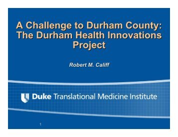 A Challenge to Durham County - DTMI - Duke University