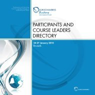 participants and course leaders directory - Eurochambres Academy
