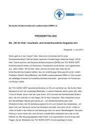 Pressemitteilung OK für Kids - Kinderschutzbund NRW e.V.