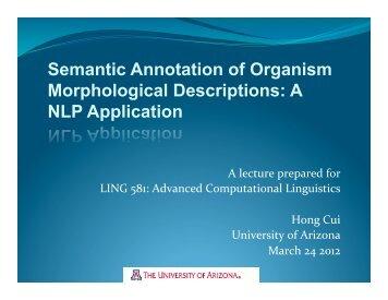 Semantic Annotation of Organism Morphological Descriptions: A ...