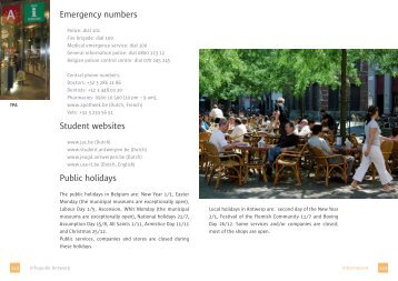 Emergency numbers Student websites Public holidays
