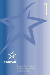 Rapport du premier trimestre (PDF - 43Ko) - Transat, Inc.
