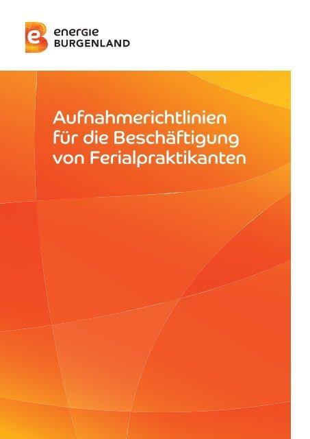 Grundsätze für die Beschäftigung von Ferialpraktikanten - Energie ...
