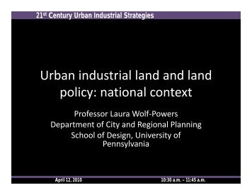 Urban industrial land and land policy: national context