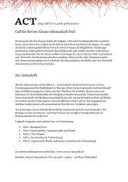 Call for Review Essays (thematisch frei) Zur Zeitschrift - Act