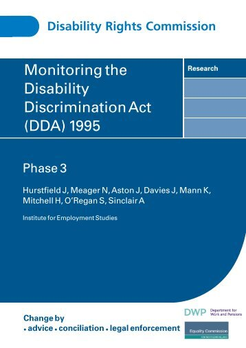 Monitoring the Disability Discrimination Act (DDA) 1995 - Centre for ...