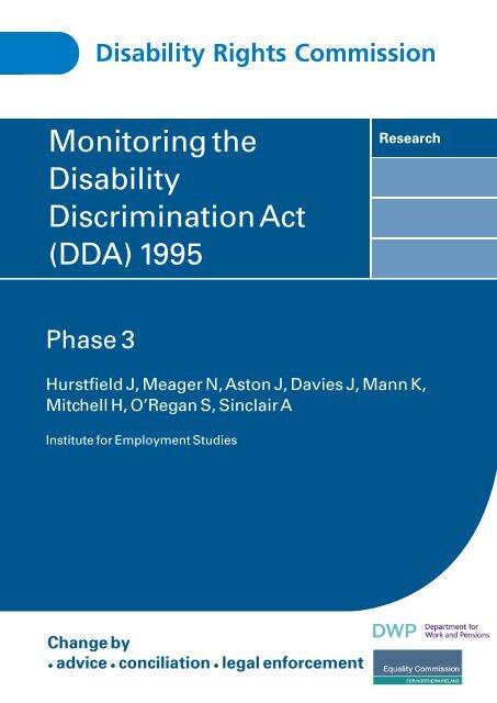 Monitoring the Disability Discrimination Act (DDA) 1995