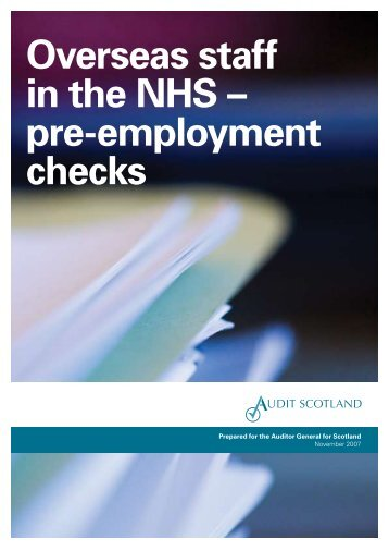 Overseas staff in the NHS – pre-employment checks - Audit Scotland