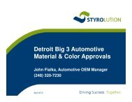 Styrolution specification at GM, Ford and Chrysler in USA