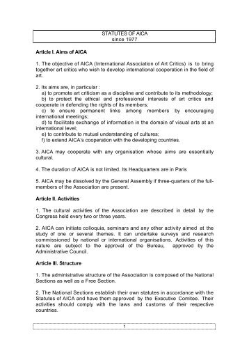 STATUTES OF AICA since 1977 Article I. Aims ... - AICA international