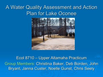 A Framework for Determining Phosphorous Limits for Lake Oconee
