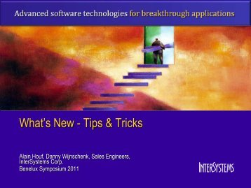 """What""""s New - Tips & Tricks - InterSystems Benelux"""